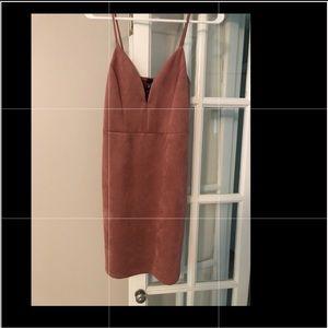 Faux suede blush mini dress